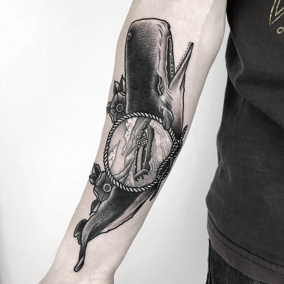 Whale Tattoo Fineline Single Needle Neotraditional 03